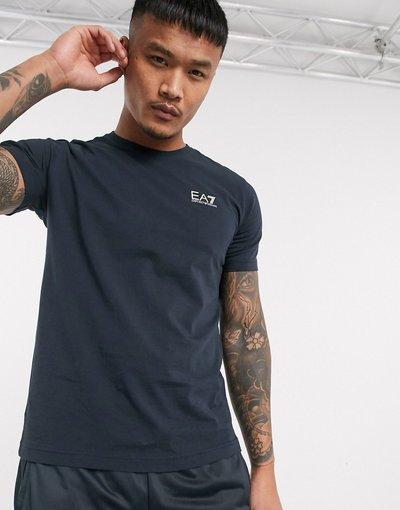 T-shirt Navy uomo shirt blu navy con logo argento piccolo - Armani EA7 - Core ID - T