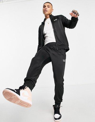 Novita Nero uomo Tuta sportiva nera in tricot con collo a imbuto - EA7 Core ID - Armani - Nero
