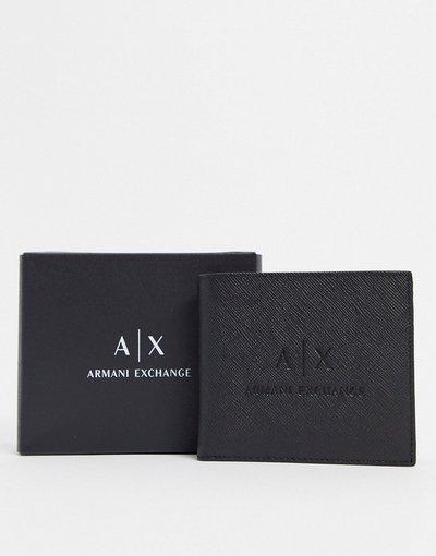 Portafoglio Nero uomo Portafoglio nero con logo goffrato - Armani Exchange - AX