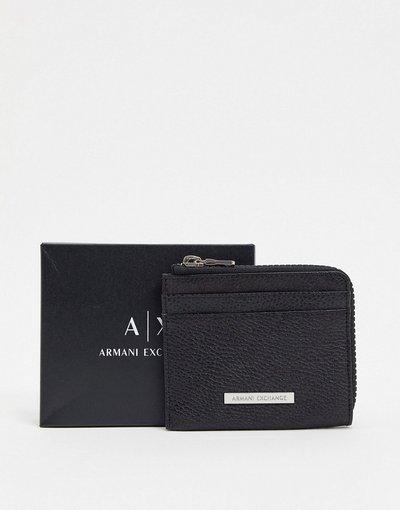Portafoglio Nero uomo Portafoglio con zip su tre lati e logo in pelle nero - Armani Exchange