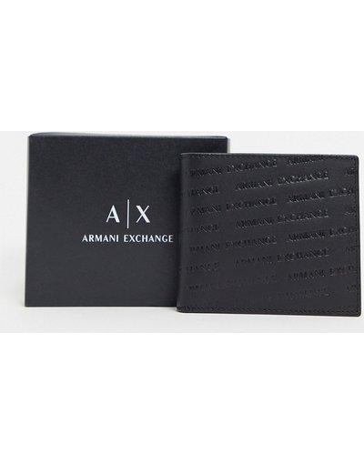Portafoglio Nero uomo Portafoglio nero con portamonete e logo goffrato ripetuto - Armani Exchange