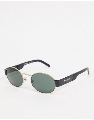 Occhiali Nero uomo Arnette: occhiali da sole rotondi in nero/oro 0AN3081