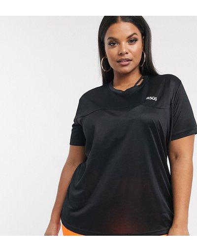 T-shirt Nero donna shirt per allenamento con logo - ASOS 4505 Curve - Nero - T