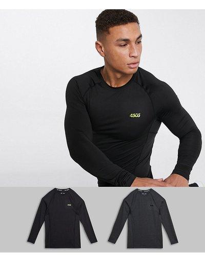 T-shirt Multicolore uomo shirt attillate da allenamento in tessuto quick dry - Confezione da 2 T - Multicolore - ASOS 4505 - RISPARMIA - Icon
