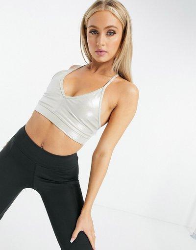 Bianco donna Reggiseno scollo profondo, effetto metallizzato - ASOS 4505 - Bianco