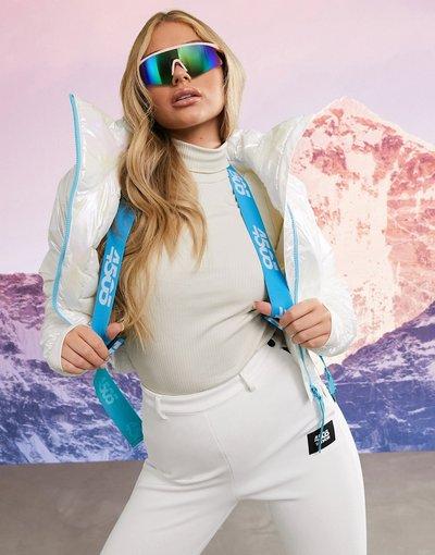 Multicolore donna Giacca corta metallica con collo a imbuto e cintura - ASOS 4505 Ski - Multicolore