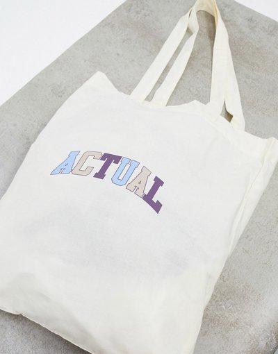 Borsa Bianco uomo Maxi borsa in calicò di cotone organico naturale - ASOS Actual - Bianco