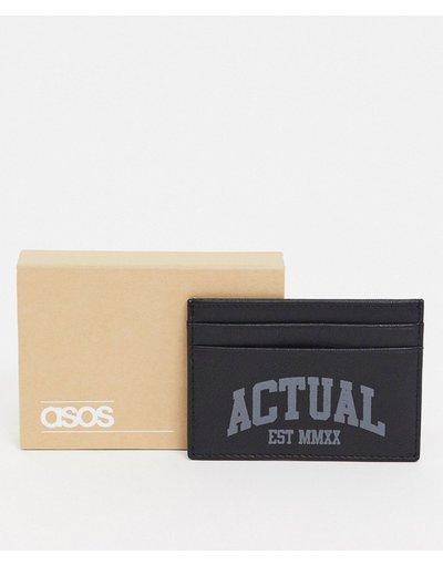 Portafoglio Nero uomo Portacarte in pelle nera con logo - ASOS Actual - Nero