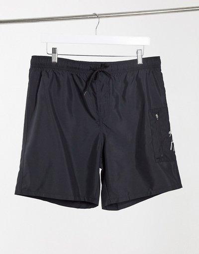 Costume Nero uomo Pantaloncini da bagno neri con tasca MA1 - ASOS Dark Future - Nero