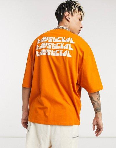 T-shirt Arancione uomo shirt oversize arancione con stampa del logo sul retro - ASOS Daysocial - T