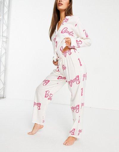 Pigiami Bianco donna Completo pigiama in 100% modal con camicia e pantaloni, colore bianco e rosa - ASOS DESIGN - Barbie