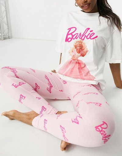 Pigiami Multicolore donna shirt e leggings bianco e rosa - Barbie Night Out - Pigiama con T - ASOS DESIGN - Multicolore