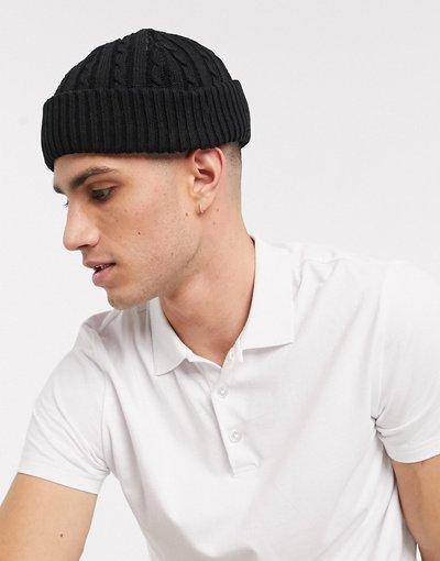 Cappello Nero uomo Berrettino da pescatore nero in maglia a trecce - ASOS DESIGN