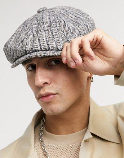 Cappello Grigio uomo Berretto baker boy in tweed di lana grigio - ASOS DESIGN