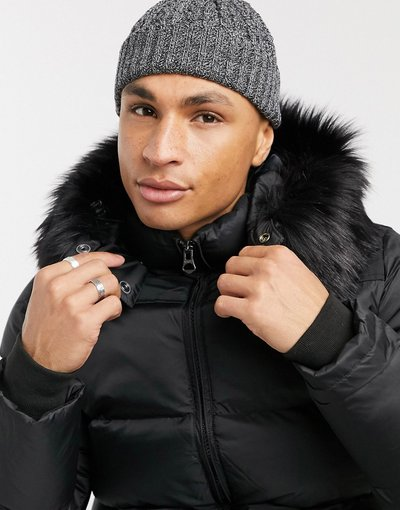 Cappello Nero uomo Berretto da pescatore mini nero e bianco in maglia a trecce - ASOS DESIGN
