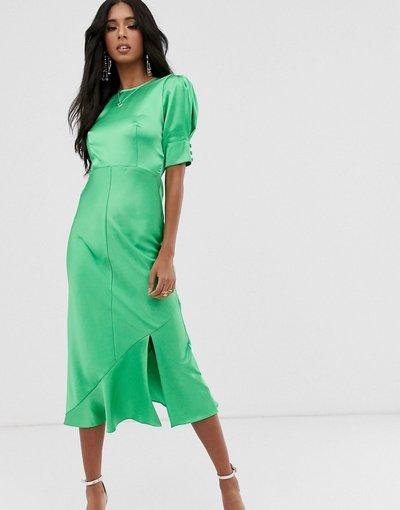 Verde donna Vestito midi in raso con maniche a sbuffo - ASOS DESIGN - bias - Verde