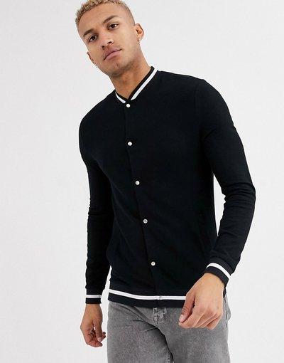 Nero uomo Bomber attillato nero in jersey organico con coste e righe - ASOS DESIGN