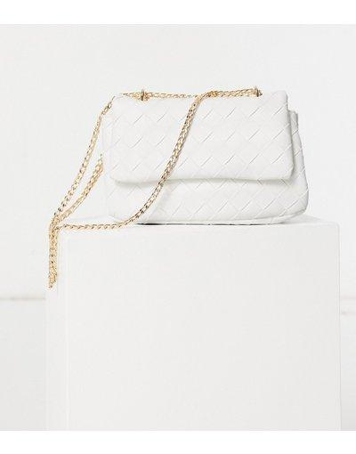 Borsa Bianco donna Borsa a tracolla in tessuto intrecciato bianco - ASOS DESIGN