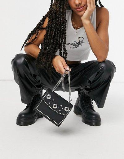 Borsa Nero donna Borsa a tracolla nera con borchie stile Western - ASOS DESIGN - Nero