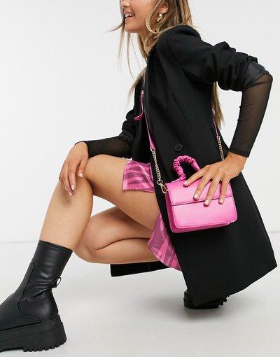 Portafoglio Rosa donna Borsa a tracolla squadrata con manico arricciato, colore rosa vivo - ASOS DESIGN