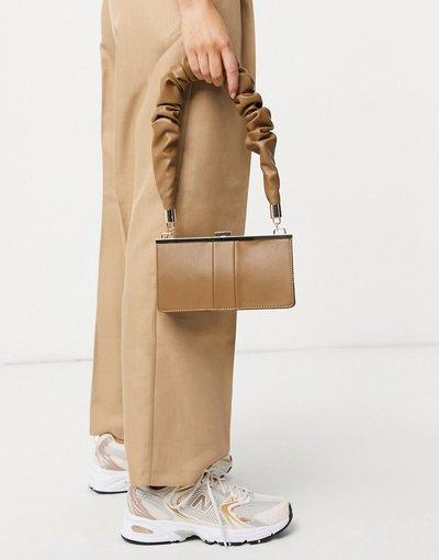 Borsa Marrone donna Borsa da spalla rigida con tracolla arricciata beige - ASOS DESIGN - Marrone