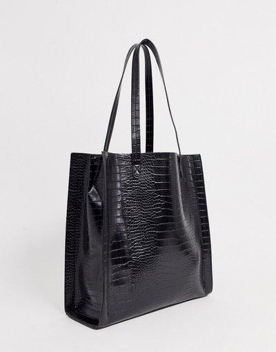 Portafoglio Nero donna Borsa shopper effetto coccodrillo con scomparto per laptop - ASOS DESIGN - Nero