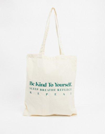 Borsa Beige donna Borsa shopper naturale con scrittaBe Kind- ASOS DESIGN - Beige