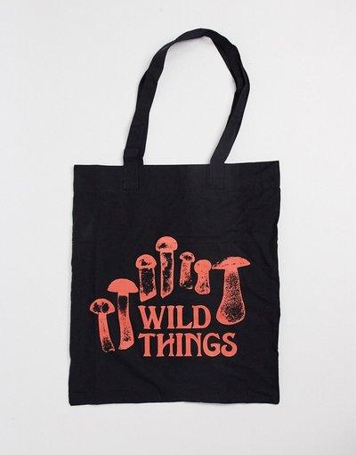 Borsa Nero uomo Borsa shopping in tela nera con stampaWild Things- ASOS DESIGN - Nero