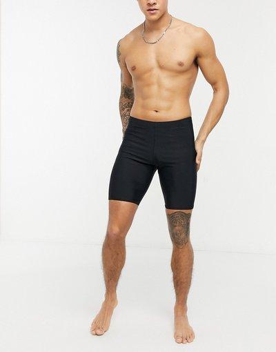 Costume Nero uomo Boxer aderenti da bagno neri con logo - ASOS DESIGN - Nero