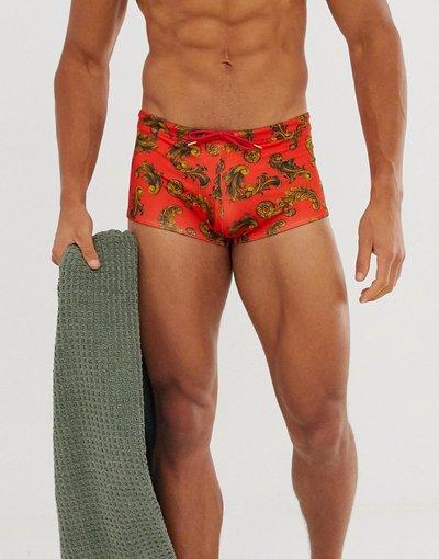 Costume Rosso uomo Boxer da bagno rossi con stampa barocca - ASOS DESIGN - Rosso