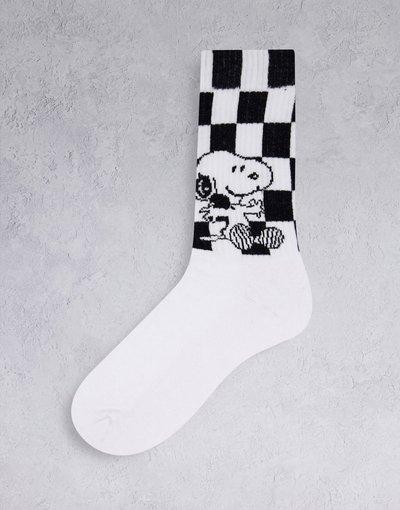 Intimo Bianco uomo Calzini sportivi bianchi a scacchiera con Snoopy - ASOS DESIGN - Bianco