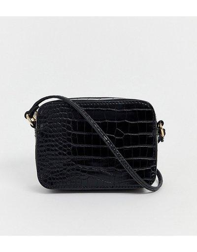 Borsa Nero donna Camera bag con tracolla effetto serpente - ASOS DESIGN - Nero