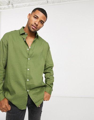 Camicia Verde uomo Camicia anni'90 oversize in seersucker kaki - ASOS DESIGN - Verde