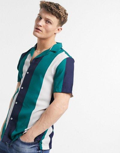 Camicia Blu navy uomo Camicia blu navy bianco e verde a righe rétro dalla vestibilità classica - ASOS DESIGN