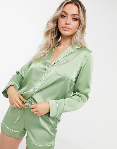 Pigiami Verde donna Camicia del pigiama mix&match in raso verde salvia - ASOS DESIGN
