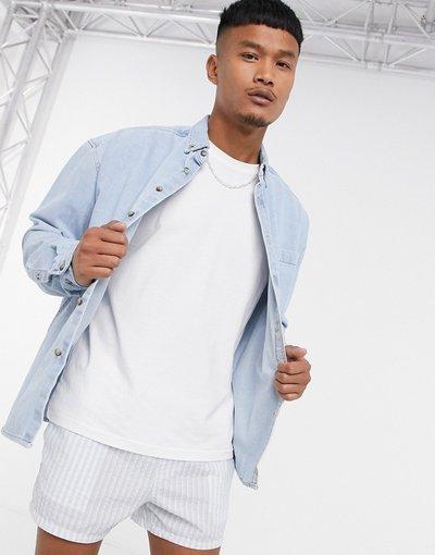 Jeans Blu uomo Camicia di jeans oversize stile anni'90 lavaggio candeggiato - ASOS DESIGN - Blu