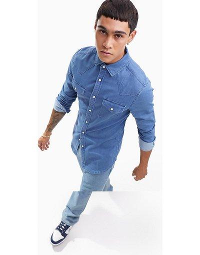 Jeans Blu uomo Camicia di jeans skinny lavaggio medio stile western - ASOS DESIGN - Blu