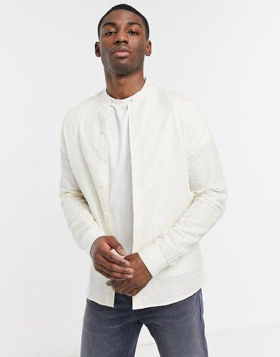 Camicia Beige uomo Camicia elagante vestibilità classica in lino écru con colletto alla coreana - ASOS DESIGN - Beige