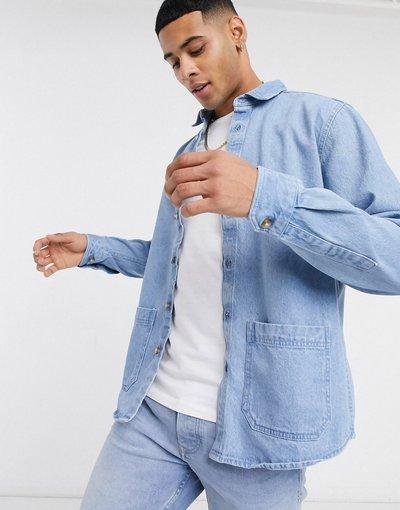 Jeans Blu uomo Camicia giacca di jeans organico lavaggio blu medio - ASOS DESIGN