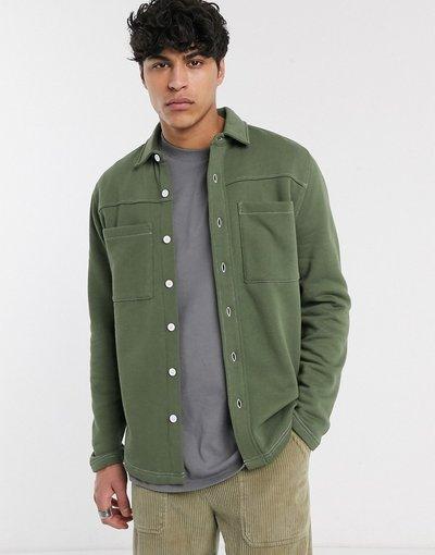 Verde uomo Camicia giacca in jersey kaki - ASOS DESIGN - Verde