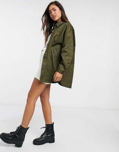Verde donna Camicia giacca oversize in cotone kaki - ASOS DESIGN - Verde