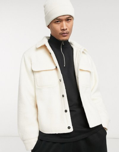 Bianco uomo Camicia giacca oversize in misto lana con fodera trapuntata bianca - ASOS DESIGN - Bianco
