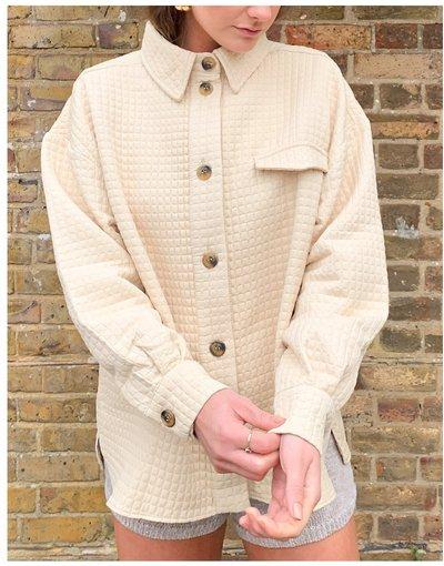 Camicia Nero donna Camicia giacca trapuntata color pietra con bottoni in corno - ASOS DESIGN - Nero