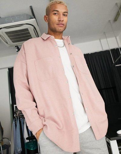 Camicia Rosa uomo Camicia in misto lana rosa pallido - ASOS DESIGN