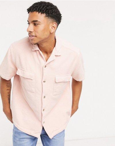 Camicia Rosa uomo Camicia in spugna rosa con colletto a rever vestibilità comoda - ASOS DESIGN