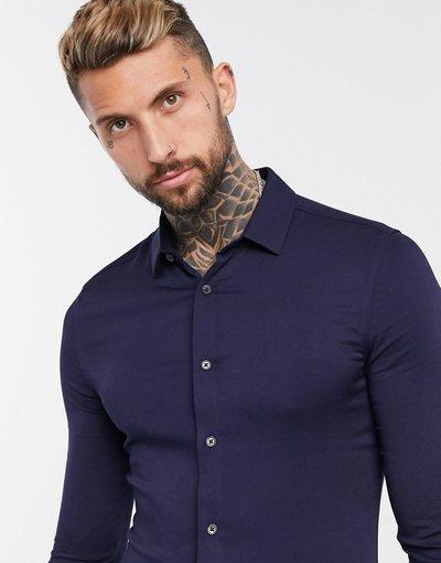 Camicia Navy uomo Camicia in viscosa skinny blu navy - ASOS DESIGN