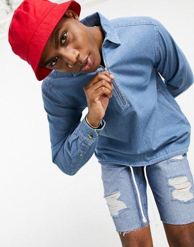 Camicia Blu uomo Camicia overhead con fondo elasticizzato lavaggio blu medio vintage - ASOS DESIGN