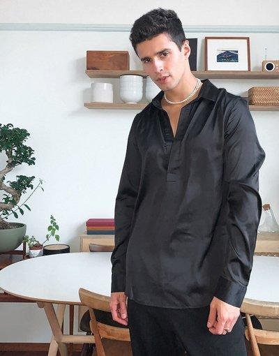 Camicia Nero uomo Camicia overhead in raso nero con colletto - ASOS DESIGN