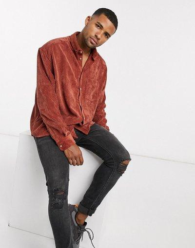 Camicia Arancione uomo Camicia oversize a coste color ruggine stile anni'90 - ASOS DESIGN - Arancione