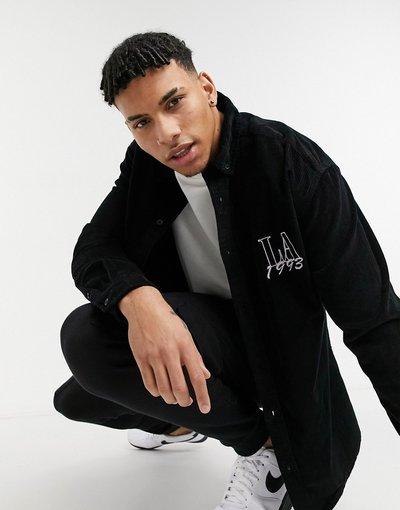 Camicia Nero uomo Camicia oversize a coste stile anni'90 nera con ricamo con scrittaLAsul petto - ASOS DESIGN - Nero